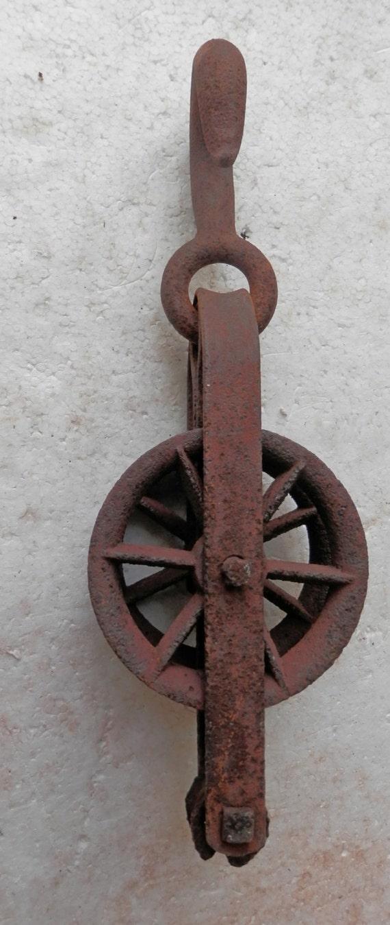 Pulleys Antique Looking : Vintage barn pulley industrial antique rusty