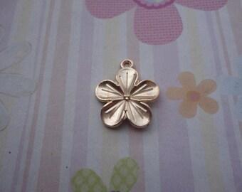 10pcs kc gold flower findings 22mmx19mm
