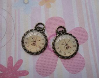 10pcs antique bronze clock findings 27mmx21mm
