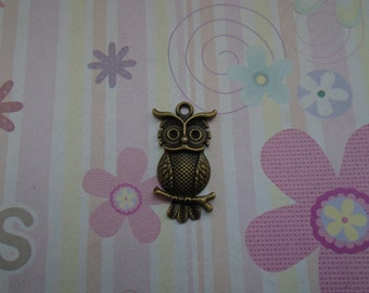 10pcs antique bronze plated owl findings 31x17mm