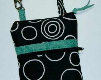 Black & Aqua Phone Case with Wristlet or Shoulder Strap - Turquoise Jade - Circles - iPhone 6 Plus