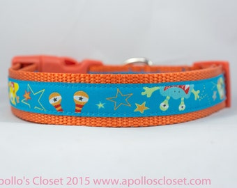 Monster Dog Collar, 1 inch wide, buckle or martingale, blue, orange, boy, scary, halloween, alien, space
