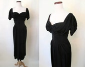 "Breathtaking ""Dorothy Ohara"" 1950's Designer Black Crepe Cocktail Party Dress Rockabilly VLV Pinup Hourglass Old Hollywood Pinup Size-Medium"