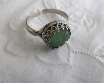 Green Glass Ring, Ring Jewelry, Sterling Silver Ring, Sea Glass Ring, Beach Glass Ring, Adjustable Ring, Gift for Women, Gift for Her