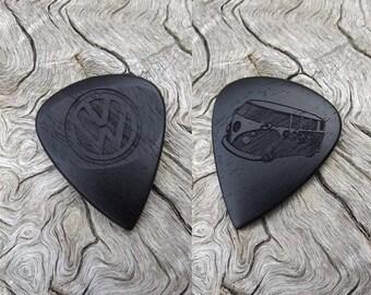 Handmade Gabon Ebony Premium Wood Guitar Pick - Laser Engraved - Both Sides - VW Bus Design