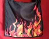 Vtg 90s Cheap Thrill Flames Crossbody Messenger Bag