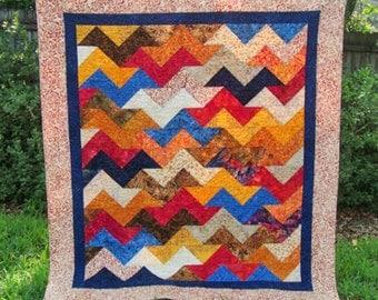 Chevron Batik Throw Quilt - Wheelchair Lap Quilt - Modern Throw Blanket - Tonga Treats Berry Crisp - Masculine Quilt