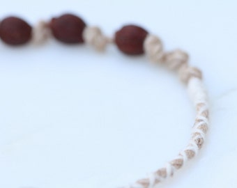 Linen and Arbutus Tree Berries Knotted Bracelet
