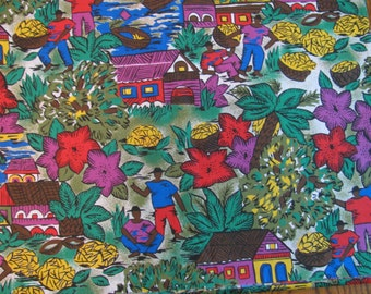"""Vintage Cotton Fabric Tropical Village Scene - Bright Colors 44"""" by 2.5 Yard - Piece"""