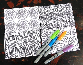 Postcards to colour in and send, handmade