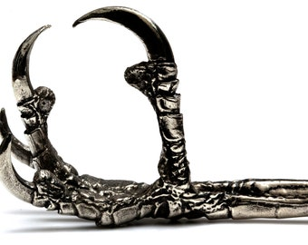 Raven claw necklace big as life sized white bronze cast in NYC
