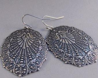 Gypsy Plume,Silver Earrings,Antique,Vintage Style,Wedding,Bride,Antique Earrings,Boho,Hamsa,Boho Earring,Hoop Earring.valleygirldesign