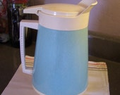 Vintage Turquoise Insulated Drink Pitcher, Aqua and White, MCM Kitchen,1 Gallon Water Pitcher, 1950s, Serving Pitcher, Picnics, BBQs