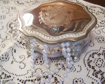 Vintage Silver Plated Jewelry Box, Trinket, International Silver Co, Vanity Box, Shabby Chic
