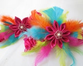 RAINBOW Wedding Garter Set, Hot Pink Bridal Garters w/ Rainbow Feathers-- Pink, Orange, Yellow, Blue, Lime, Beach, Fairy Wedding