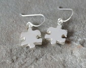 Sterling Silver Puzzle Piece Dangly Earrings