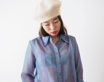 Provence blue vintage crepe blouse, small - medium