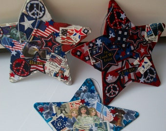 Decoupaged Patriotic Stars - One of a Kind Set of Three