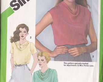 Misses Blouse Pattern Simplicity 9765 Size 14 Pattern ~ Bias Front ~ Cowl Neckline ~ Long ~ short Or Cap Sleeves ~ Cut But Complete