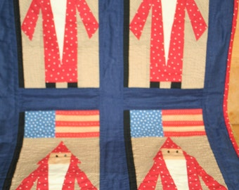 Primitive Santa Quilt Wall Hanging or Small Quilt Christmas Holiday Decor