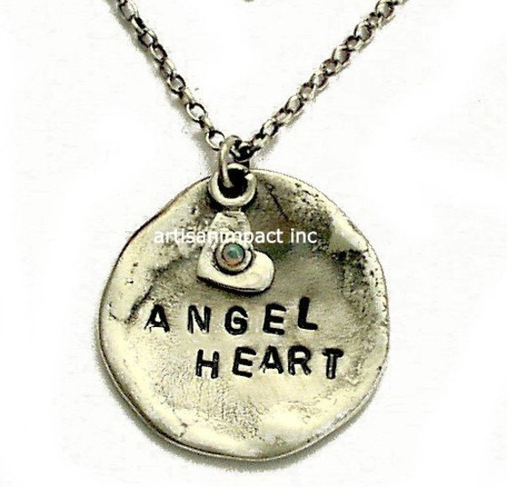 Personalized Necklace, hand stamped necklace, sterling silver pendant, promise necklace with a heart  charm - VALENTINES - Angel heart N4484