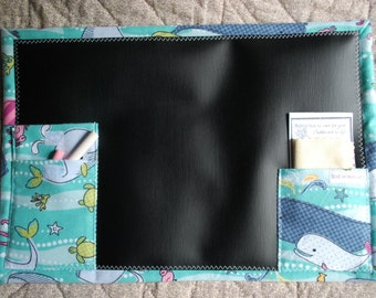 Chalkboard to Go travel chalkboard placemat - whales and ocean friends