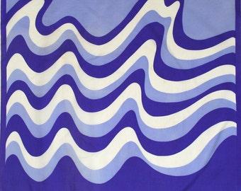 Groovy Op Art inspired scarf by Vera. Retro, bold, waves, ocean, summer, purple, violet, white, mod