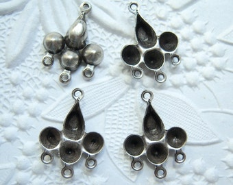 Antiqued silver plated pear cluster rhinestone settings, lot of (6) - NG126