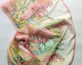Floral motives silk scarf- pink mint green pastel colors-handpainted silk scarf-long pink scarf summer scarf painting on silk For gift scarf