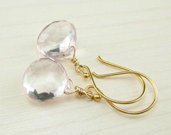 SALE Pink Quartz Gold Earrings, Simple Drop Earrings, Pink Stone Earrings, Light Pink lavender Gemstone, Everyday Gold Dangle Earrings