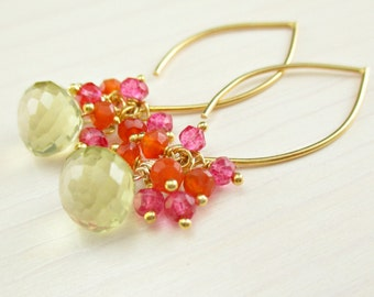 Lemon Quartz Gold Cluster Earrings, Pink Quartz, Carnelian, Pink Orange Gemstone Dangle, Semi Precious Marquise, Simple Everyday Spring