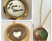 Mourning Hair Locket Can Also Hold Other Treasures With Glass Window On Both Sides - Choose from 3 colors of metal - Ready to quick ship