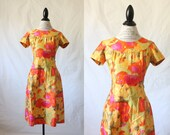 c1960's Floral Day Dress S/M
