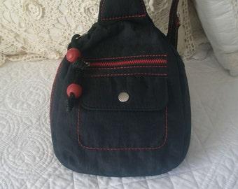 Navy Denim and Red Backpack Shoulder Bag with Five Pockets