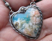 Sweetheart Feather Ridge Plume Agate Turquoise and Sterling Silver Necklace