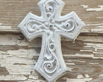 Small White Cast Iron Wall Decor Cross