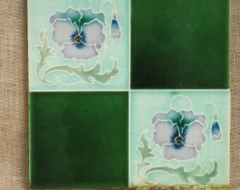 Antique Ceramic Tile , England , Art Nouveau , Art Deco , Arts and Crafts , Tiles , Ceramic , Green , Luster Ware , English , Architectural