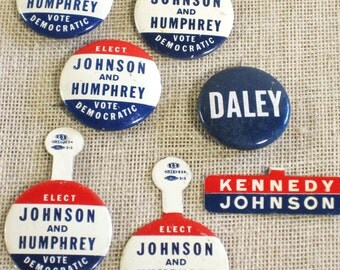 Vintage Political Campaign Election Buttons, President Kennedy, Johnson, Humphrey, Memorabilia, Collection,Lapel Pin,Politics,Red White Blue