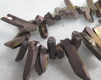 Quartz Beads 30mm - 20mm X 7mm Smooth Opaque Bronze Gold Crystal Quartz Freeform Shards - 20 Pieces