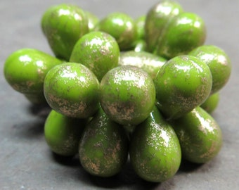 Czech Glass Beads 9 x 6mm Opaque Pistachio Green and Golden Highlights Teardrops - 50 Pieces