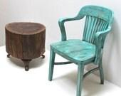 Walnut Stump Table Vintage Cast Iron Legs