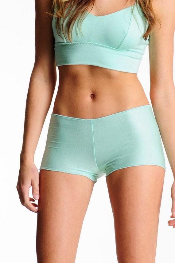 Lingerie Boyshorts- Mint Green - Comfortable Full Coverage Panties Underwear