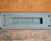 FREE SHIPPING Vintage Antique Brass Letter Slot and Interior Hood (E2059)