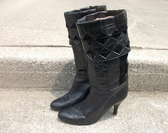 Black Vintage Boots Cuffed Patchwork Size 8