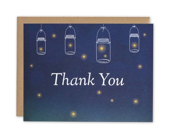 Mason Jars, Fireflies, and Midnight - Thank You Card