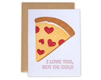 Pizza Card – Letterpress Card, I Love You, Valentines Day Card, Anniversary Card