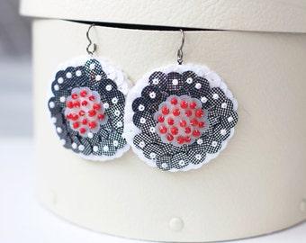 Poppy Flower Earrings, Silver White Sequins, Red Beads Embroidery, Folk Field Flower, Statement Summer Garden, Sparkle Big Hoop Felt