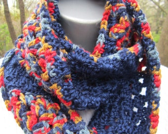 Granny Square Scarf, Navy Red and Tan Crochet Cowl, Soft Navy Infinity Scarf, Gift for Mom, Neckwarmer CrochetedbyCharlene, Gift for Sister