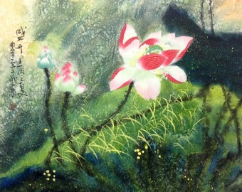 abstract painting Lotus painting original painting chinese painting oriental art floral painting flower painting