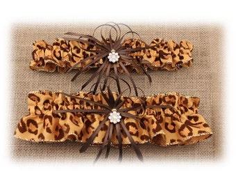 Leopard Print Wedding Garter Set